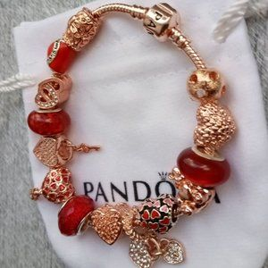 Pandora Bracelet with Red Heart Charms